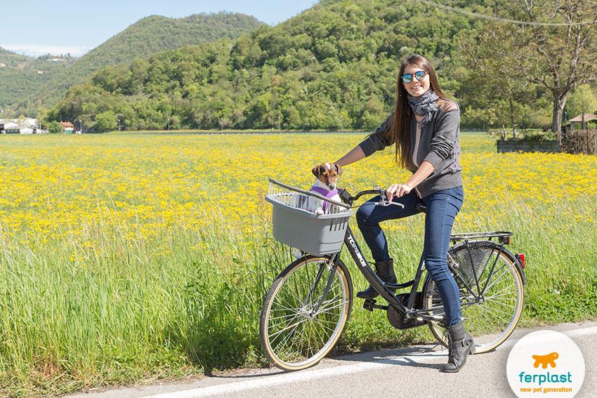 scampagnate con il cane in bicicletta