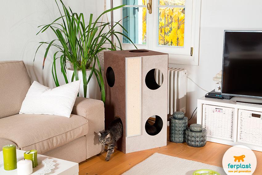 mobile per gatti di design a due piani