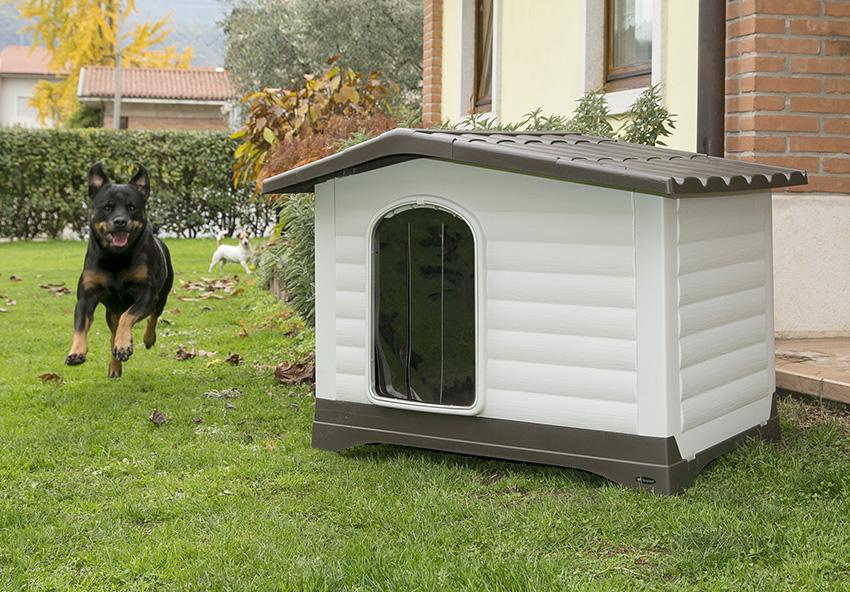Cuccia da esterno per cani plastica o legno love ferplast for Cucce per cani da esterno coibentate