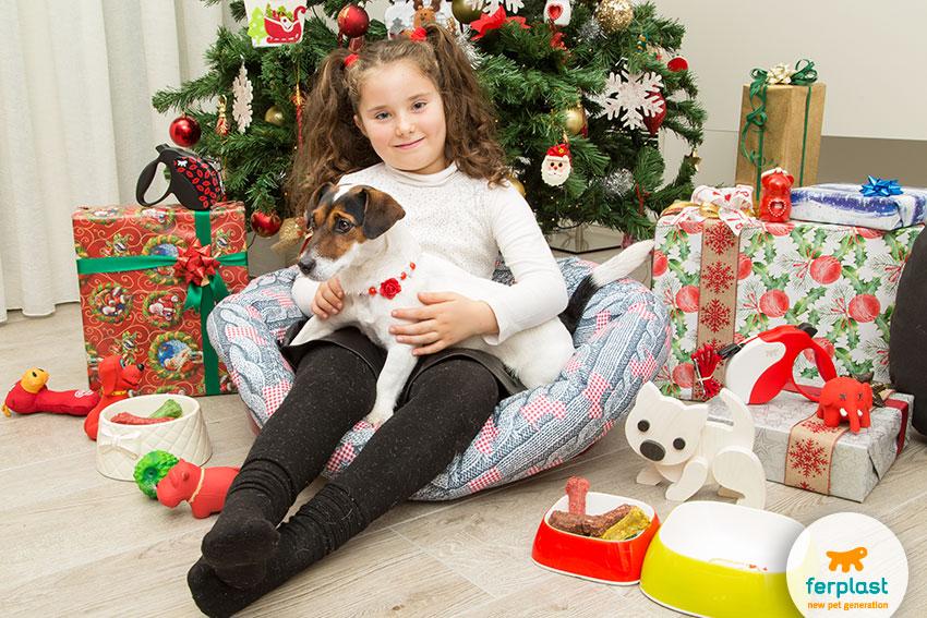 cani, bambini e regali di natale
