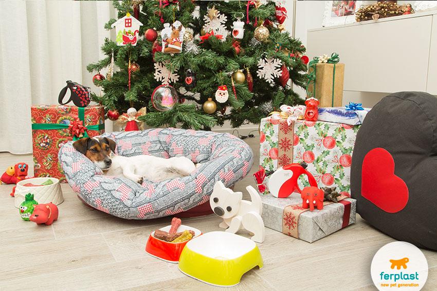 elegant christmas tree and dog gifts