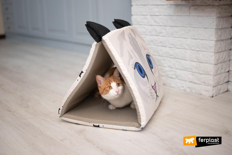 Gatto nella cuccia Ferplast