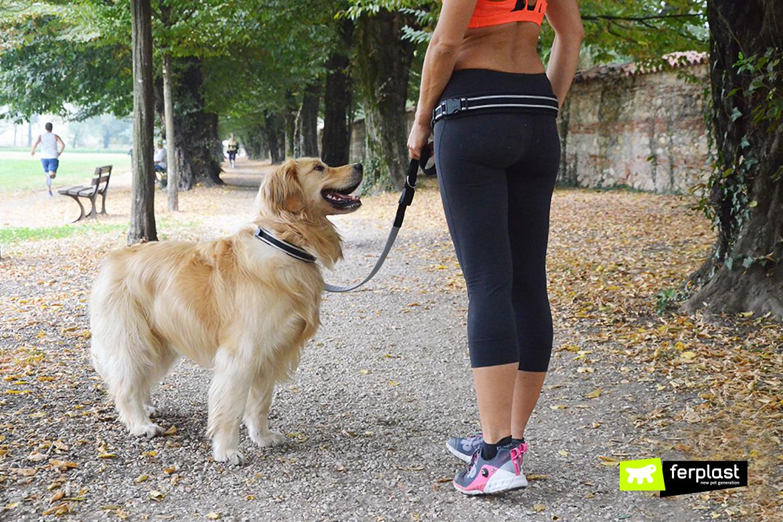 Cão e dono correm com Ergocomfort Freetime da Ferplast