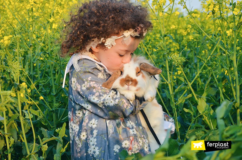 Bambina bacia il coniglietto