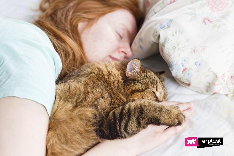 Jeune femme redhair dormir avec chat