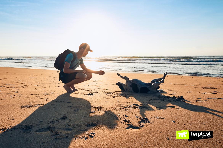 Jovem com cachorro na praia