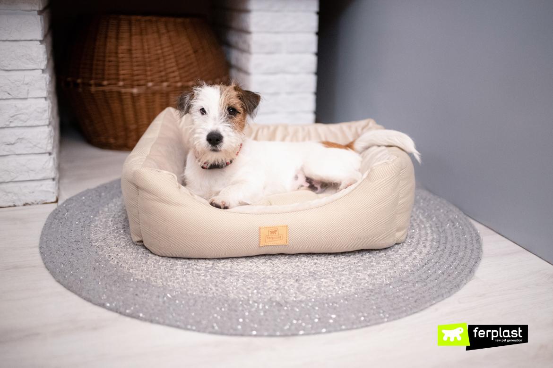 cama de cachorro em tecido de tweed quente