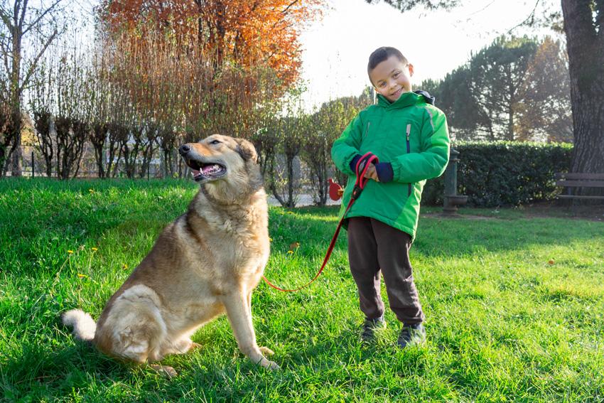 bambino sorridente con il suo cane al guinzaglio
