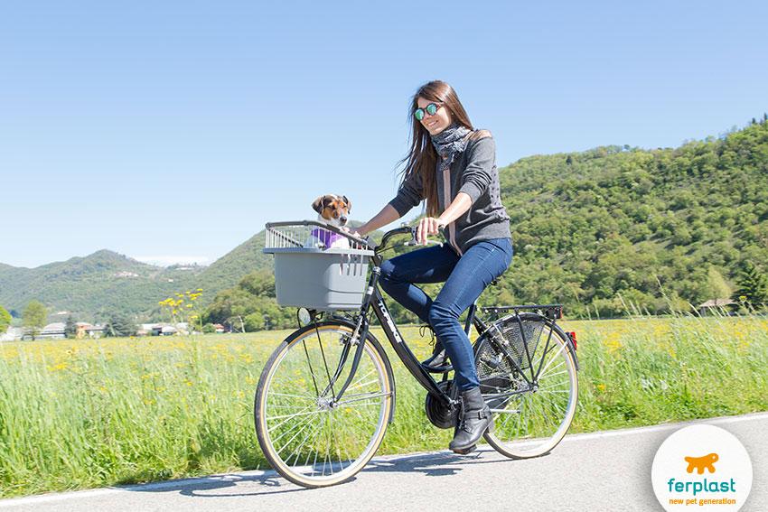 portare il cane in bicicletta con trasportino