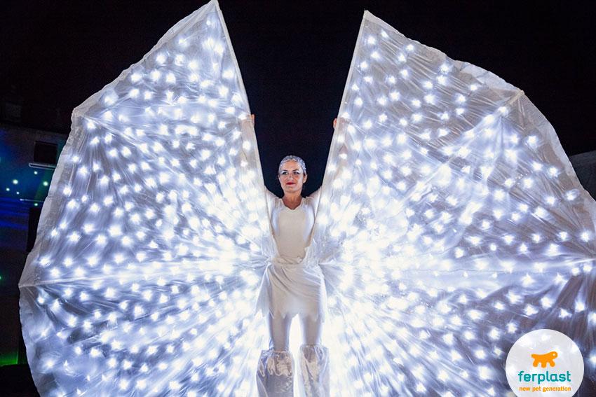 spettacolo delle farfalle luminose alla festa per i 50 anni di ferplast